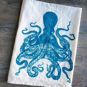 Octopus Screen Printed Kitchen Cotton Tea Towel - Earth Friendly and Reusable - Nautical Dish Towel - Housewarming Gift