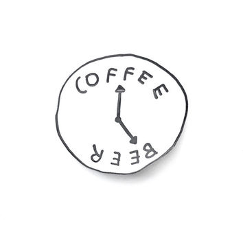 Coffee Beer Clock Pin