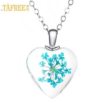 New Fashion Natural Dried Flower Crystal Heart Pendant Necklace