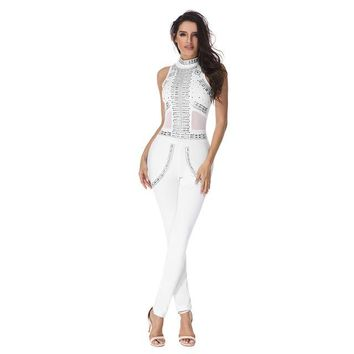 White Luxury Sequined Patchwork Jumpsuit