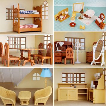 Miniature Doll House Furniture Set Kitchen Living Bathroom kids Pretend Play Toy 911686160769