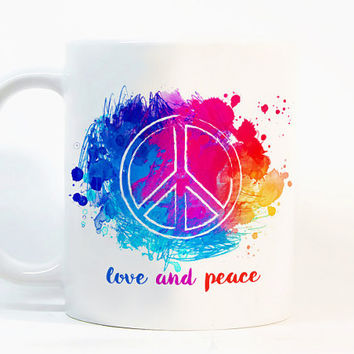 Love and peace coffee mug Love mug Watercolor Mug Gift mug Coffee Cup Gift for her Printed mug Ceramic mug Zebra gift