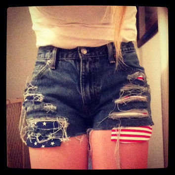 American Flag High Waisted Shorts by GypsyDrift on Etsy
