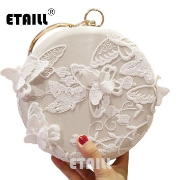 ETAILL White Lace Butterfly Round Embroidery Evening Bag Circular Chain Clutches Wedding Party Metal Ring Handbag  Banquet Purse