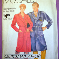 Women's and Men's Robe Size Small, Medium, Large, X-Large Sewing Pattern Uncut McCall's 0011