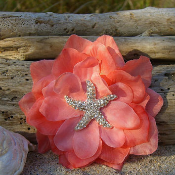 Beach Weddings Starfish Floral Hair-CORAL-Beach Wedding, Starfish Wedding, Bridal Hair Clip, Mermaid Hair, Vegan Friendly Starfish, Starfish