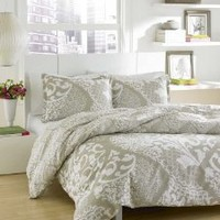 City Scene Medley Cotton Duvet/shams Cover Set, Platinum ,King