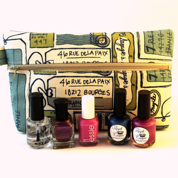 Luggage tag theme cosmetic case, nail polish bag, travel pouch, makeup bag, nail lacquer storage.