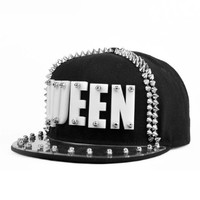 LOCOMO Men Women Black Hedgehog Spike Acrylic Queen Baseball Cap Snapback FFH065