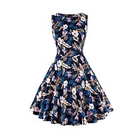 Vintage Inspired Cocktail Dress, Floral Dark Blue