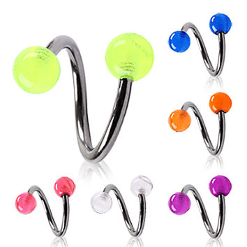 316L Surgical Steel Twist with Glow in the Dark Ball