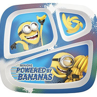 Zak! Designs 3-Section Plate featuring Minions Graphics, Break-resistant and BPA-free Plastic