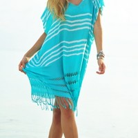 Seafolly Miami Utopia Kaftan in Seychelles - Buy this beautiful aqua Beach Coverup at Coco Bay with Next Day Delivery and Free UK Returns/Exchanges