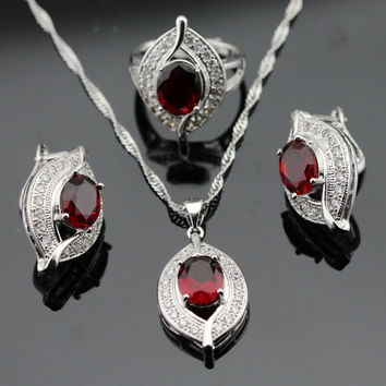 Handmade Silver Color Red Garnet Jewelry Sets For Women Earrings Ring Pendant Necklace Christmas Gift Free Box Made in China