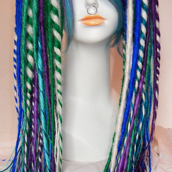 2 Extra Long and Layered Synthetic Dread Falls Dreadlocks with Matching Fringe Clip in Human Hair Extension