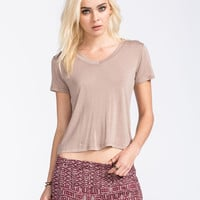 Full Tilt Womens V-Neck Tee Taupe  In Sizes