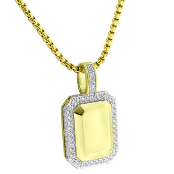 Dog Tag Bar Style Pendant 14k Gold Over Sterling Silver Lab Diamonds Steel Chain