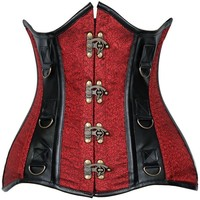 Daisy Corsets Top Drawer CURVY Brocade & Faux Leather Steel Boned Under Bust Corset