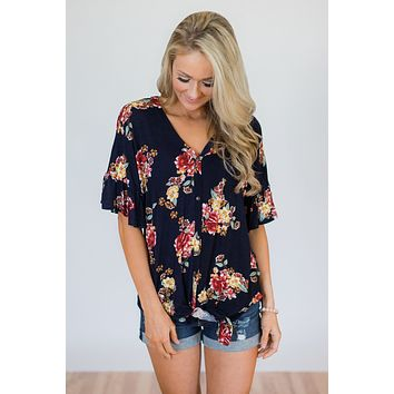 What it Takes Floral Button Top- Navy