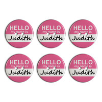 Judith Hello My Name Is Plastic Resin Button Set of 6