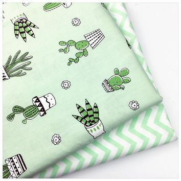 Green cactus Cotton twill clothes print check fabric DIY kid sewing patchwork cushion handwork quilting tissus tecidos an meter