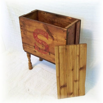 Shipping Crate TABLE an Antique SINGER SEWING by MrsRekamepip