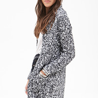 FOREVER 21 Textured Open-Front Cardigan Black/White