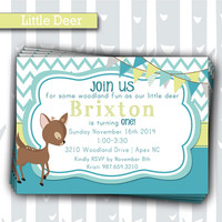 Little Deer 1st Birthday Invitation | Baby Boy Woodland Animals Invite | Baby Shower Invitation