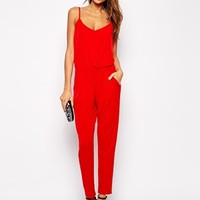 Lipsy Jersey Jumpsuit with Cami Straps at asos.com