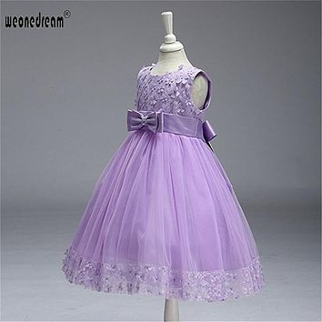 Flower Girl Dress 2017 for Kids wedding Baby Lace up Princess Sleeveless girl dresses summer wedding for Children Dress 2-10T