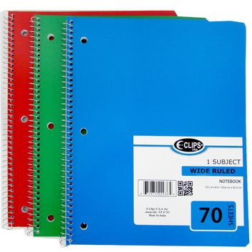 1 Subject Wide Ruled Wire Notebook - Assorted - CASE OF 48