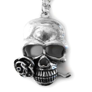 Skull with Rose Necklace