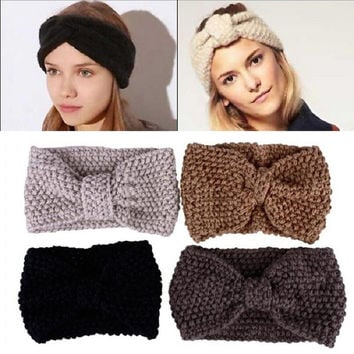 New Crochet Flower Bow Knit Knitted Headband Headwrap Ear Warmer Hair Band = 1946122052