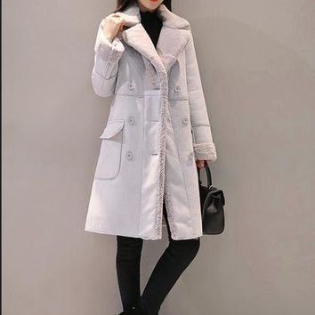 Woman Shearling Coats Faux Suede Leather Jackets turn-down collar double breasted  casual  Long Coat