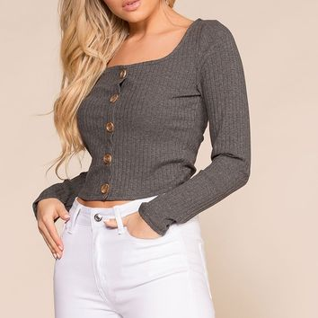 Optimistic Charcoal Button Long Sleeve Crop Top
