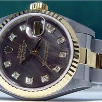 ROLEX Lady Mother Of Pearl Diamond DateJust 79173 SANT BLANC