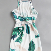 Leaf Print Bow Tie Open Back Cami Dress
