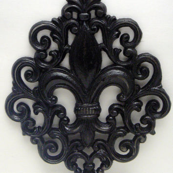 Fleur de lis Ornate Decorative Cast Iron Painted Glossy Modern Black Distressed Wall Decor French Decor, Paris, Shabby Chic
