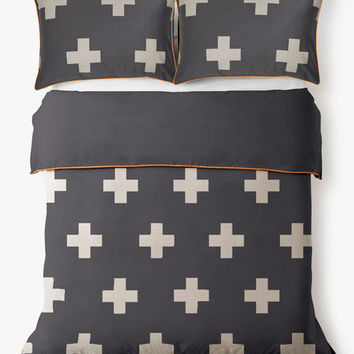 Aura Crosses Quilt Cover in Charcoal