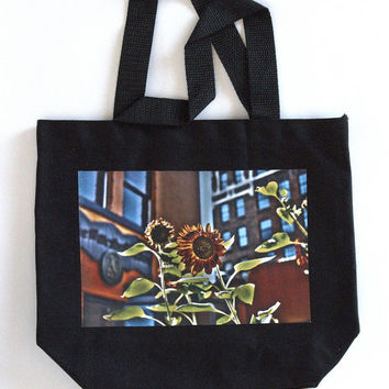 "Black Canvas Tote - Small Reusable Market Bag - Canvas Bag, Gift for Girls -  ""Sunflower Photo"""