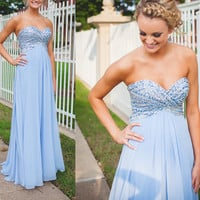 Sweeteart Blue Beading A-Line Prom Dresses,Prom Dress