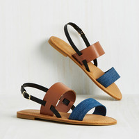 Varied Itinerary Sandal in Denim Colorblock | Mod Retro Vintage Sandals | ModCloth.com