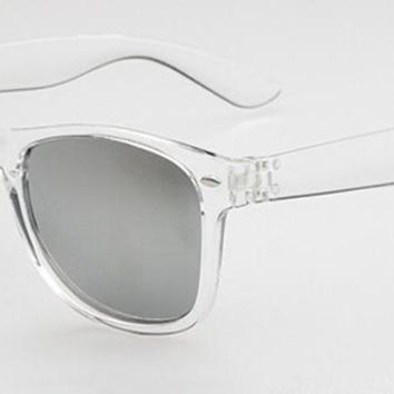Vintage Clear Transparent Sunglasses Man Women Silver Polarized Full Rim Retro Outdoor uv400 Driving Glasses