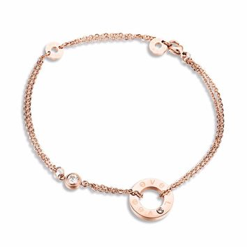 New Designer Fashion Two Layers Foot Chain Anklet Bracelets for Women Love Cubic Zirconia Rose Gold color Dangles Ankle Bracelet
