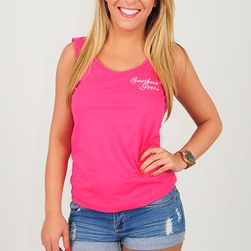 RESTOCK: Southern Grace: Anchored To The South Tank: Hot Pink