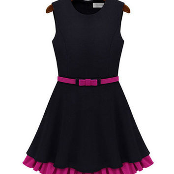 Black Sleeveless Belted Sheath Pleated Mini Dress