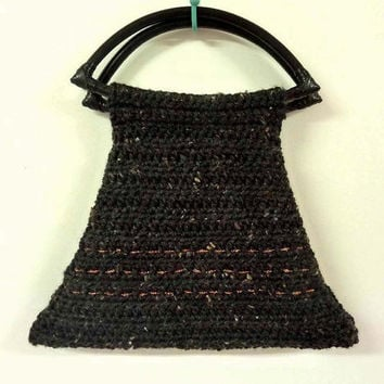 Unique Womens Fashion Handbag Crochet Art Deco Style Dark Gray
