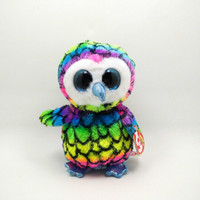 16cm ( 6 inch) Ty Beanie Boos Big Eyes Owl Plush Toy. Colorful Owl Kawaii Stuffed Animal Doll TY Baby Kids Toys