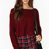 Study Break Crop Sweater - Oxblood