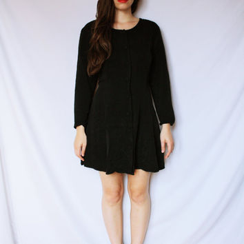 1980s Little Black Dress / Mini / Full Skirt / Buttons / Witch Coven / American Horror Story / Micro / Circle / Back Tie / LBD / Buttons